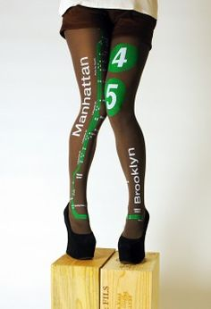 New York City Subway Map Printed Tights. Not sure if these are geeky, but I LOVE them.