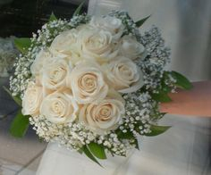 Cream roses with babys breath and green collar