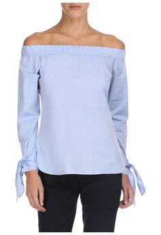 MISSINCLOF - Blusa ombro a ombro camisaria nó - azul - OQVestir