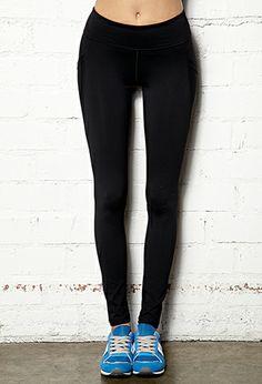 Mesh-Trimmed Skinny Workout Leggings   FOREVER21 - 2000072531