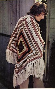 wdgrsqtrsqareshawl...really warm and pretty and easy to make.Remember the ponchos from the 60s & 70s?..THEY'RE BACK, and here's a free pattern!