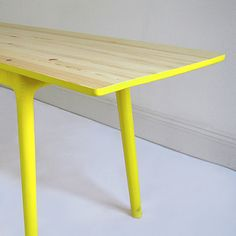 Brightly painted table legs.