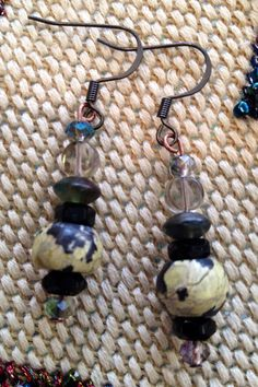 Turquoise, crystal and glass bead earrings on Etsy, $30.00