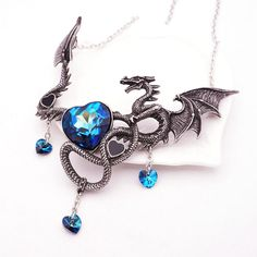 Dragon Pendant Large Blue with Chain Necklace - Ginger Lyne Collection #GingerLyneCollection offered by ginger_lyne_collection on eBay