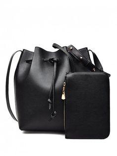 Solid Color String PU Leather Crossbody Bag - BLACK