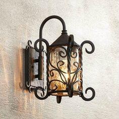 Iron Scroll Outdoor Light Fixture Old World Design Porch Accent Lighting Walnut #ULD