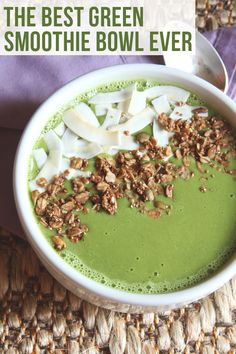 The Best Green Smoothie Bowl Ever - coconut water, almond milk, spinach/kale (frozen or fresh), frozen banana, frozen mango/pineapple, ice cubes (optional)