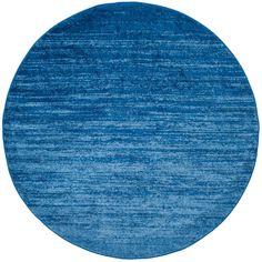 Adirondack Light Blue/Dark Blue 8 ft. x 8 ft. Round Area Rug