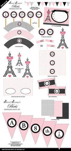 Paris Birthday Party Printable Set
