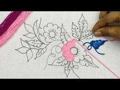 Bordado fantasía flor: puntadas fáciles, hand embroidery beautiful flower pattern with easy stitches - YouTube Diy Embroidery Kit, Chain Stitch Embroidery, Hand Embroidery Videos, Embroidery Flowers Pattern, Hand Embroidery Tutorial, Couture Embroidery, Creative Embroidery, Lace Embroidery, Machine Embroidery Designs