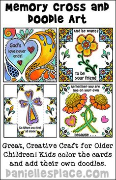 Memory Cross and Doodle Art Craft for Older Childrens. Great for Childrens Ministry outreach programs!