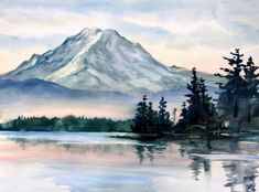 Rainier 2 - a signed print of Mt. Rainer by Bonnie White watercolor artist - Winter - Watercolor Cool Landscapes, Watercolor Art, Art Painting, Landscape Paintings, Painting, Watercolor Landscape Paintings, Art, Landscape Prints, Landscape Art
