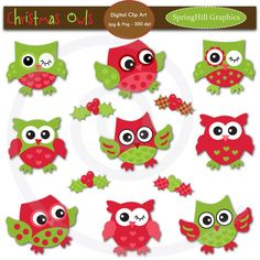 Instant Download Christmas Owls Digital Clip Art for Card Making, Web Design, Scrapbooking - Personal and Commercial use