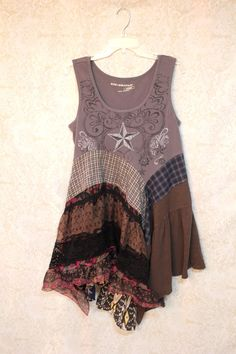 Camisa de Upcycled Boho de renacimiento las mujeres Shabby