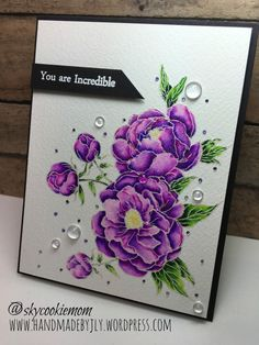 """Stamped The Ton """"Happiest of Peonies"""" Versamark on size Arches cold press & heat embossed w Wow Silver Pearl. Watercolored w Zig CC Markers & blended w Spectrum Noir Clear Sparkle brush pen The Ton Stamps, Purple Peonies, Peonies Bouquet, You Are Incredible, Altenew Cards, Pen And Watercolor, Christmas Cards To Make, Get Well Cards, Card Sketches"""