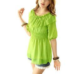 Allegra K Women Short Sleeve Elastic Waist Scoop Neck Pullover Chiffon Blouse Bright Green XS Allegra K. $9.94