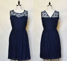 LORRAINE (Navy) : Navy chiffon dress, lace sweetheart neckline, vintage inspired, party, day, bridesmaid by mfandj on Etsy