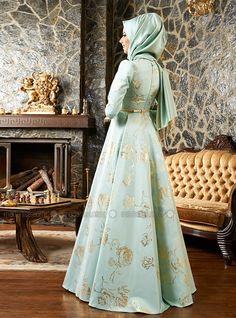 Rose Patterned Jacquard Evening Dress - Mint - Mevra