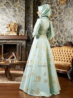Rose Patterned Jacquard Evening Dress - Mint - Mevra