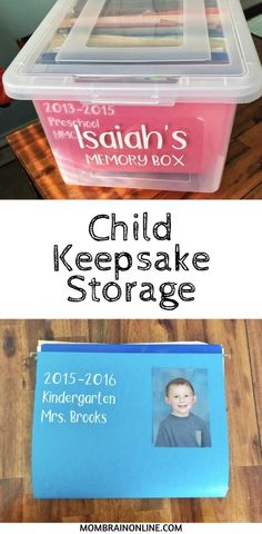 The scattered piles of your child's school and art work can be easily organized in a child keepsake storage box. Create files for each year to store all of your favorite memories, documents, awards, and papers throughout the years in a storage saving box. Kids And Parenting, Parenting Humor, Parenting Hacks, Baby Kind, Baby Love, Mom Brain, School Memories, Memories Box, Baby Memories