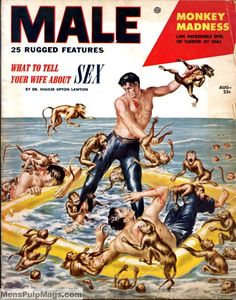 Men's Pulp Adventure Magazines  MALE, August 1953. Cover painting by Edward Laning.