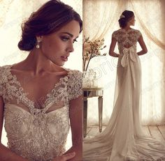 Sexy vestidos de noiva chiffon a line court train Vintage Wedding Dress 2014 New bride dress casamento cap sleeve Free shipping