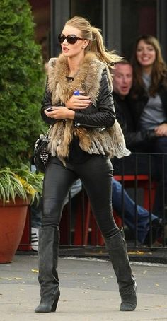 fur-vest-black-leather-skinnies-knee-boots-rosie-huntington-whiteley-model-style-via-topshelfclothes.com