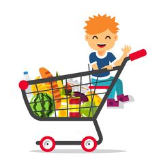 Buy Kid Sitting in a Supermarket Shopping Cart by IconicBestiary on GraphicRiver. Kid sitting in a supermarket shopping cart full of groceries. Flat style vector illustration isolated on white backgr. Free Cliparts, Logo Online Shop, Clipart Gallery, Banners, Baby Clip Art, Pics Art, School Boy, Free Baby Stuff, Free Food
