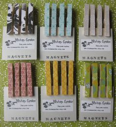 clothespin magnets (paper/fabric + modge podge?)