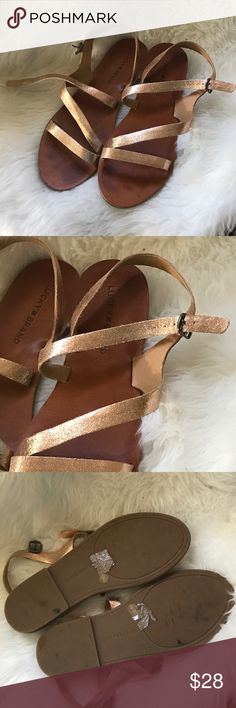 Lucky brand sandals Size 8.5. Lucky brand strappy sandals. Kind of a rose gold color. Only worn a few times. Lucky Brand Shoes Sandals