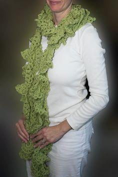 autumn scarf crocheted peridot ruffles