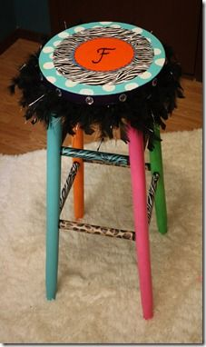 """Classroom stool using scrapbook paper and paint. I love the feather boa!   from """"i heart elementary"""""""
