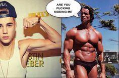 Nice try Justin! #JustinBieber #Arnold #GymMemes