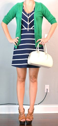 outfit posts: navy and white striped dress, kelly green cardigan | Outfit Posts Dynamic