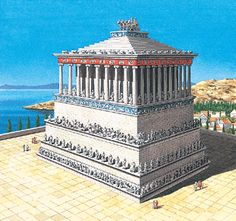 Seven Wonders of the Ancient World: The Mausoleum at Halicarnassus (Marble Tomb). 7 World Wonders, Seven Wonders, Ancient Greek Architecture, Historical Architecture, Ancient Rome, Ancient Greece, Mausoleum At Halicarnassus, Ancient Mysteries, City Maps