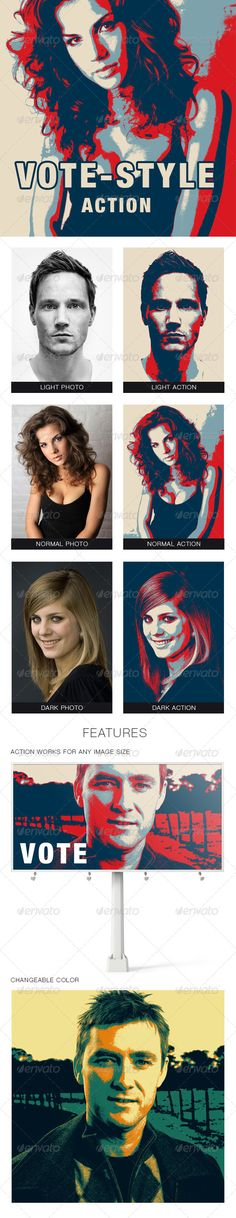 Vote-style Photoshop Action  #GraphicRiver        Vote-style Photoshop Action That's a tool to easily style your photo into Vote-style poster. Help file included. Features:   Action works for any image size;  You may to change a color as you wish;  Fully illustrated help file;  Images not included;      Created: 2October13 Add-onFilesIncluded: PhotoshopATN MinimumAdobeCSVersion: CS4 WorksWith: JPG Tags: actions #blue #color #darkblue #effect #hope #obama #photo #politic #red #simple #style…