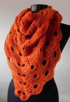 Orange autumn virus shawl romantic boho women by Handpaintedworld