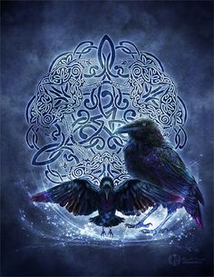 Celtic Knotwork Raven Triskele by brigidashwood