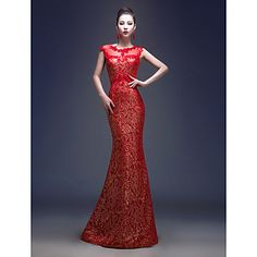 Formal Evening Dress Trumpet/Mermaid Jewel Floor-length Lace – CAD $ 83.39