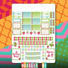 Strawberry Fields Planner Stickers for your Erin Condren Life Planner, Happy Planner, or any planner! by MoogleyandMe on Etsy