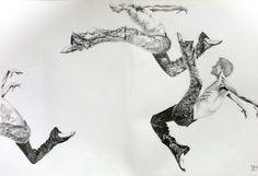 Danseurs. Noir et blanc. Travail d'adhérent de l'atelier dessin graphisme couleur 2016-2017