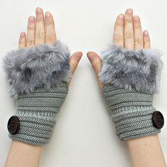 Gray Knitted Fur Trimmed Fingerless Button Accent Gloves. Get the lowest price on Gray Knitted Fur Trimmed Fingerless Button Accent Gloves and other fabulous designer clothing and accessories! Shop Tradesy now