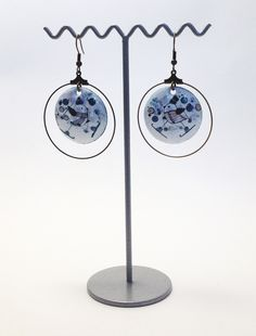 Boucles d'oreille en émail et laiton Amandine Barry - Créatrice d'émotions