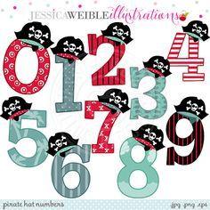 Sombrero de pirata números lindo gráfico por JWIllustrations