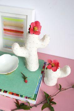 Clay Cactus Bud Vases