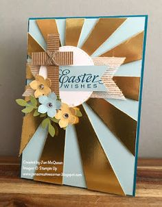 Easter card using the Sunburst Thinlit and Petite Petals from Stampin Up by Jan McQueen. More info @ www.janscreativecorner.blogspot.com.au