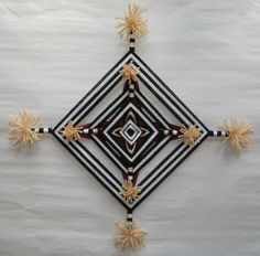 Tewa Clown Ojo de Dios Yarn Mandala by HighDesertBohemian ~ The Four Ways -inspiration for altered book New Crafts, Hobbies And Crafts, Diy And Crafts, Arts And Crafts, Eye Mandala, Dream Catcher Mandala, Gods Eye, Altered Books, Xmas Decorations