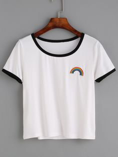 Shop White Contrast Trim Rainbow Embroidered T-shirt online. SheIn offers White Contrast Trim Rainbow Embroidered T-shirt amp; more to fit your fashionable needs. Teenager Outfits, Girl Outfits, Fashion Outfits, White Fashion, Teen Fashion, T-shirt Broderie, Rainbow Outfit, Rainbow Clothes, Diy Vetement