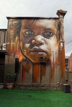 Beatutifu work by Matt Adnate. In Richmond, Melbourne, Australia. More at http://adnate.com.au/