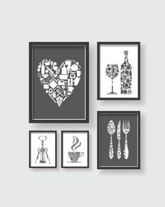 Gray White Kitchen Art - Dining room wall art - Kitchen print set - Modern kitchen wall art - Set of 5 prints - Modern Kitchen Print Modern Kitchen Wall Decor, Yellow Kitchen Decor, Gray And White Kitchen, Grey Home Decor, Kitchen Prints, Kitchen Wall Art, Kitchen Redo, Family Wall Decor, Dining Room Wall Art